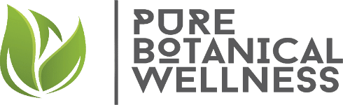 Pure botanical wellness hemp oil shop logo