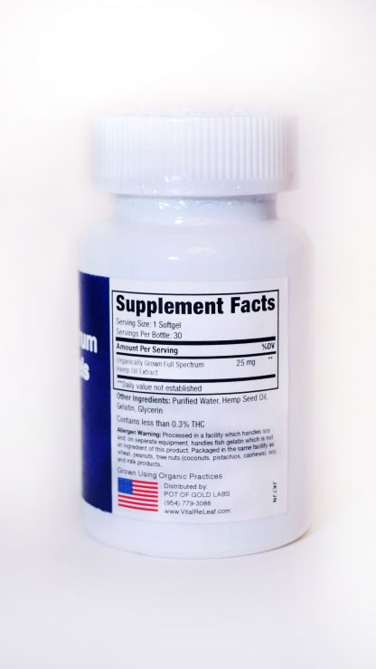 VitalReleaf Softgels Information label