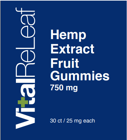 vital releaf cbd gummies product label