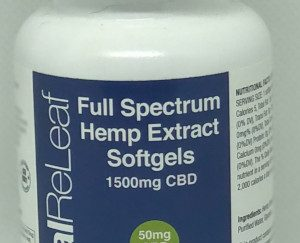 vital releaf full spectrum cbd gelcaps bottle of 1500mg with 30 caps per bottle equalling 50mg per single gel cap